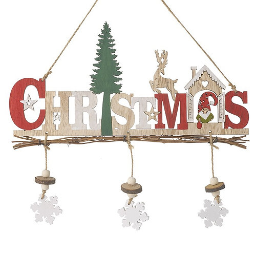 Hanging Wooden Christmas Sign