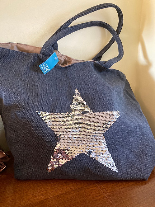 Grey star unstructured bag
