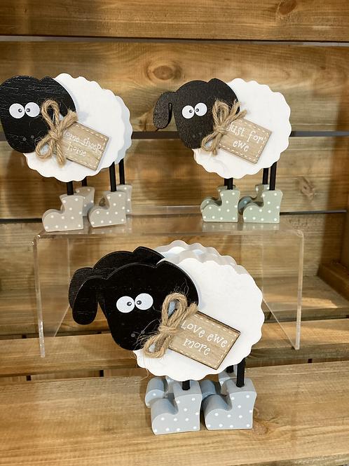 Standing wooden sheep
