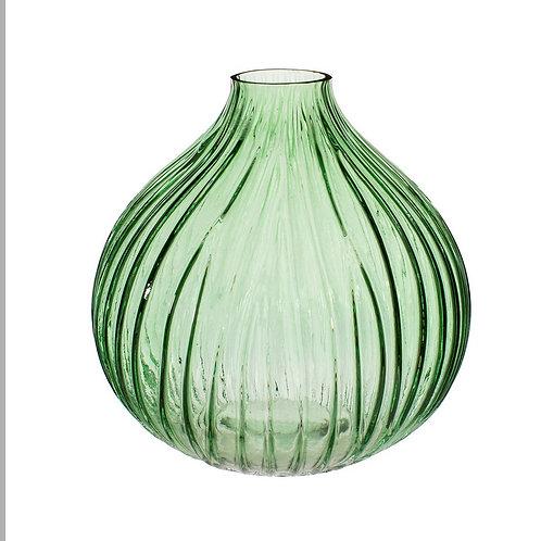 Green bulbous glass vase
