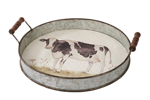 Cow Metal Tray