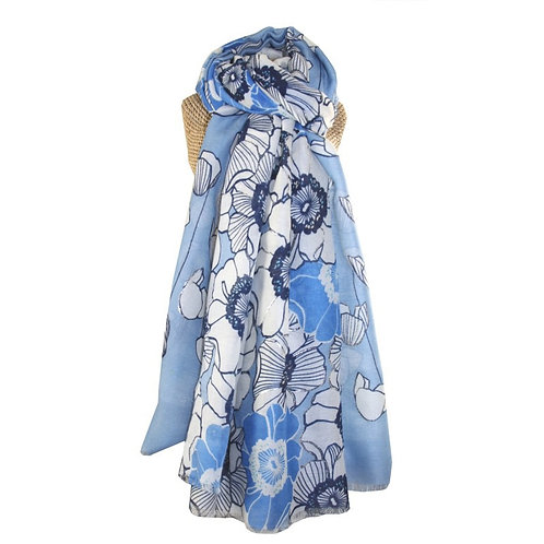 Silver poppies scarf