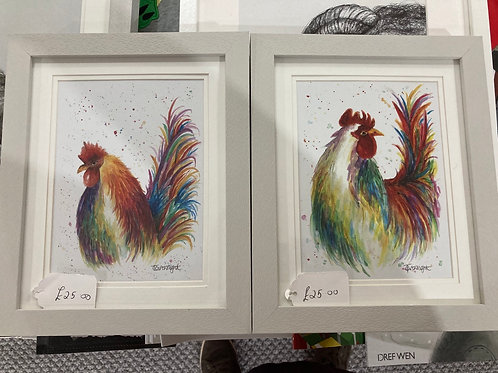 Cockrel and Hen prints A5