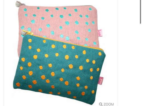 Embroidered Colourful Dots Purse