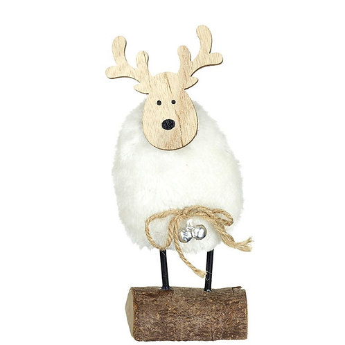 White Fluffy Deer with Bells