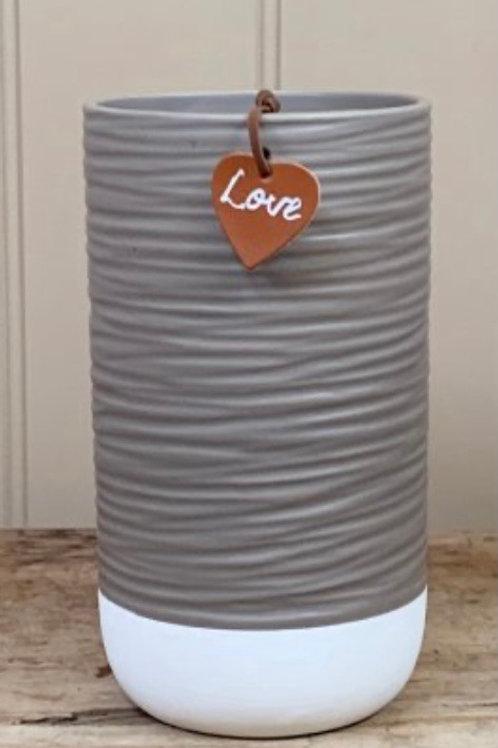 Grey & white vase