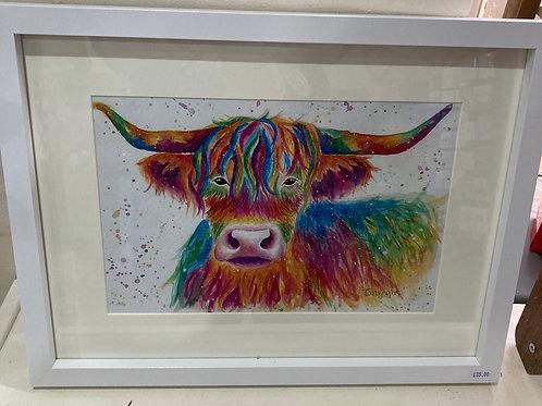 Highland cow A4 print framed