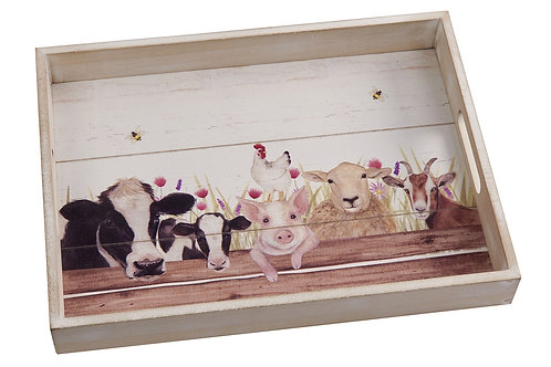 Farm Animals Wooden Tray