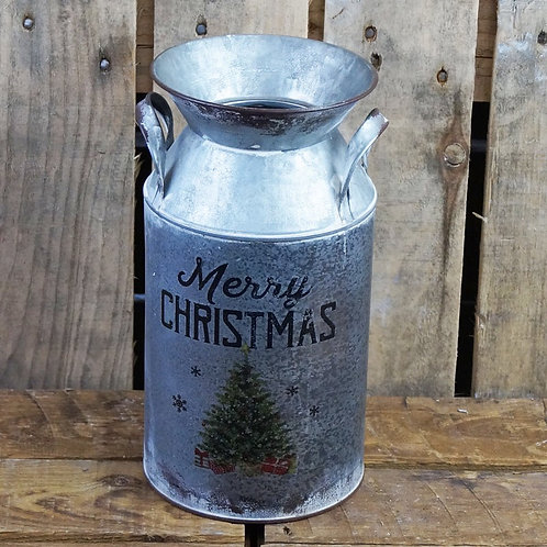 Grey Christmas Milk Churn