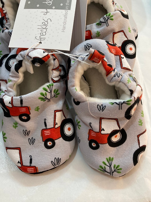 Red tractor slippers