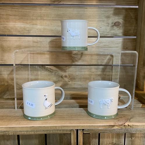 Farm animal earthenware mug