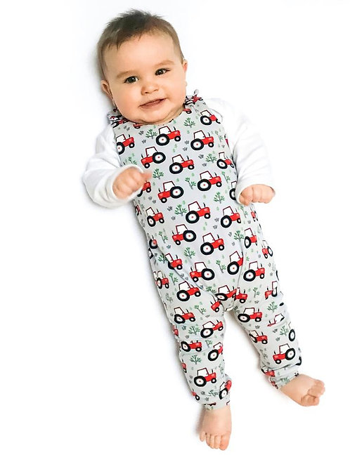 Red tractor romper