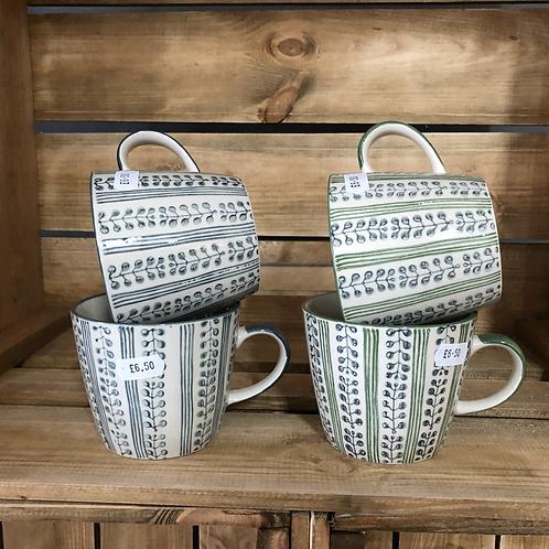 Leaf print mugs