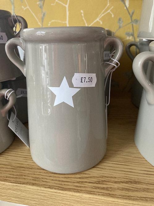 Grey star vase 14cm