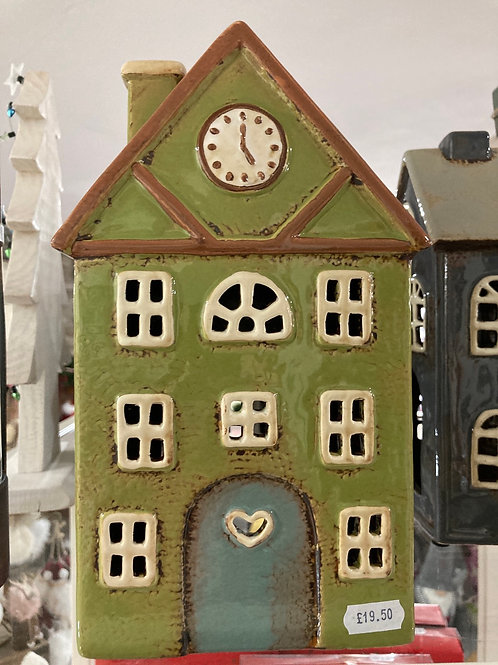 Olive pottery tealight house