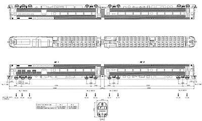 Silver Fern Railcar GA Drawing