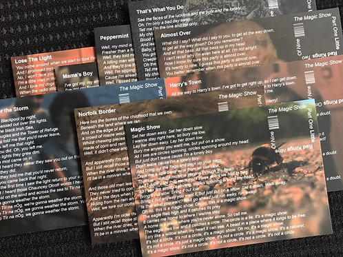 Set of nine limited edition 'The Magic Show Part One' lyric postcards. P&P Inc