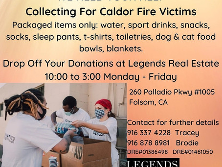 Donations Accepted for Caldor Fire