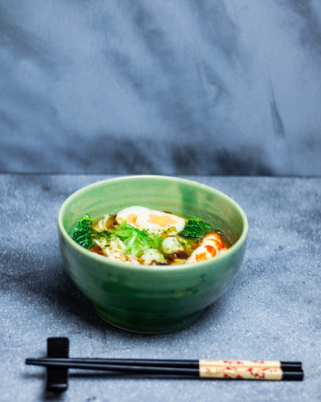 Miso Ramen with Udon Noodles and Naturomaki