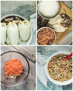 collection of four images. Stuffed squid tubes, shirataki noodles, diced carrots in a bowl and squid stuffing mix