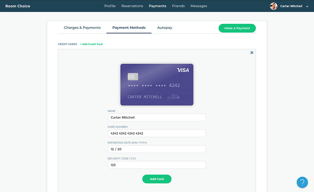 Adding Room Choice Credit Card Payments