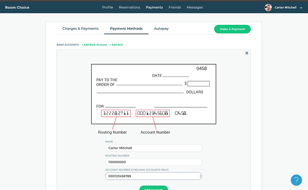 Adding an ACH Payment Method