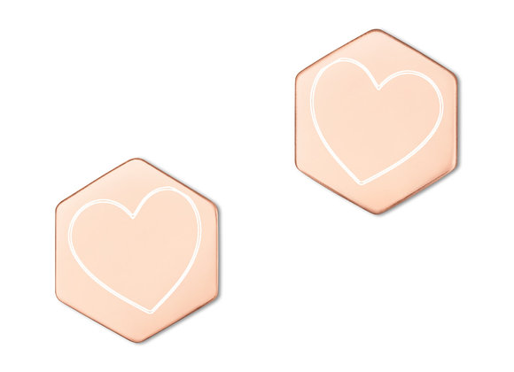 """Listen with your HEART"" Sterling Silver Hexagon Stud Earrings"