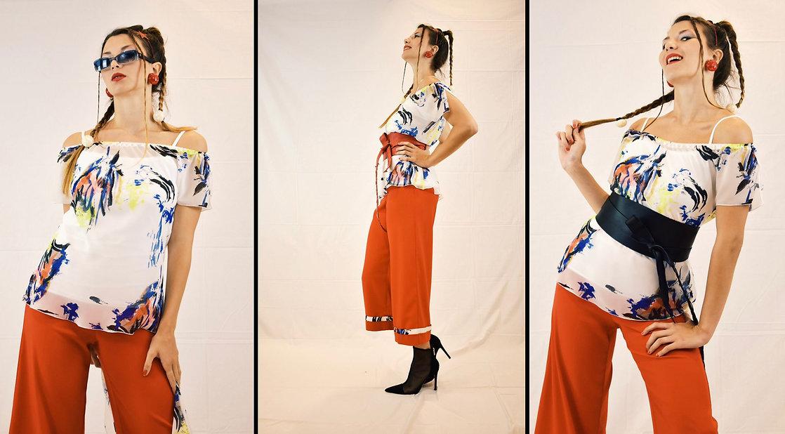 blusa con stampa in georgette, scollo omerale, pantalone morbido,pantalone colorato,pantalone rosso