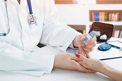 Doctor checking blood sugar level. docto