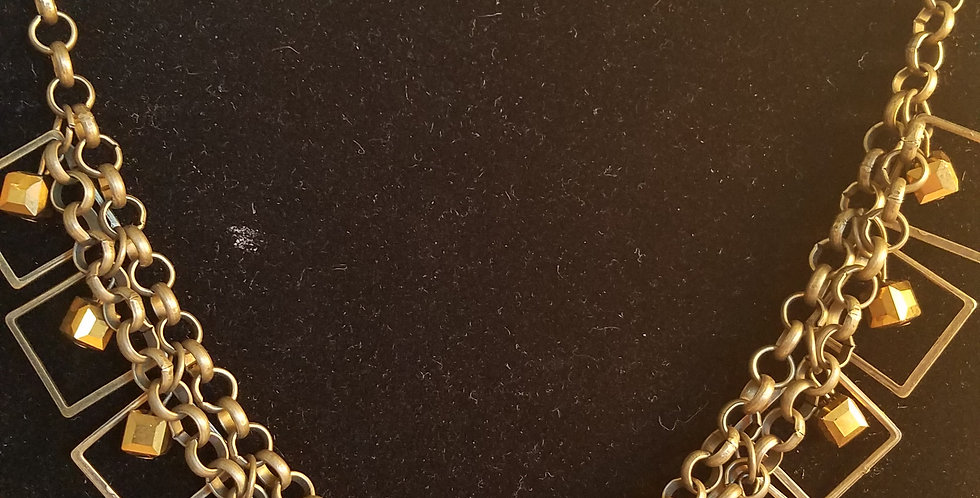 Brass box necklace-Paparazzi Accessories-i am NOT a consultant