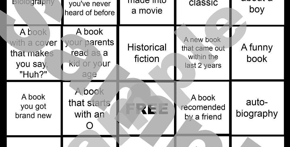 Back To School Book Bingo -Digital game board