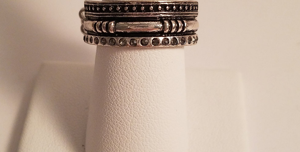 Simple silver and blackRing-Paparazzi Accessories-I am NOT a consultant