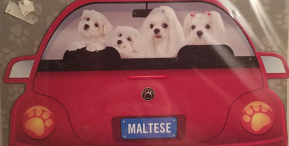 PUPMOBILE car magnet maltese -red car