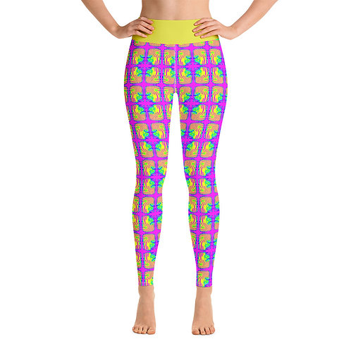 Flower Power Yoga Leggings Hippie Neon Pink Blue Green Yellow
