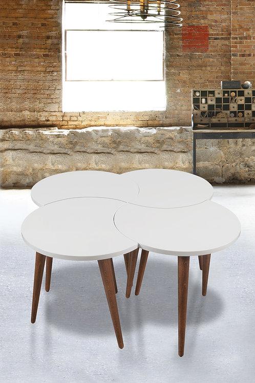 4 Pieces Nesting Table White-White