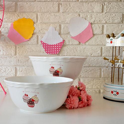 2 Pcs Snack Bowl 004 PINK CAKE 25 Cm