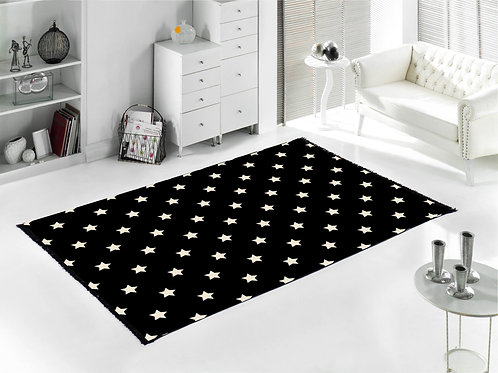 Home De Bleu - Star Rug 80x150 Cm - Black