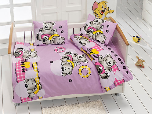Class Baby Baby Duvet Cover Set Cute Bear V2-Lilac