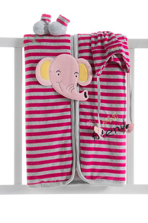 Baby Line Elephant Embr. Velvet Blanket Set 9723