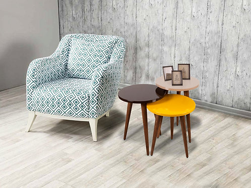 3 Pieces Nesting Table Brown-Cappuchino-Yellow