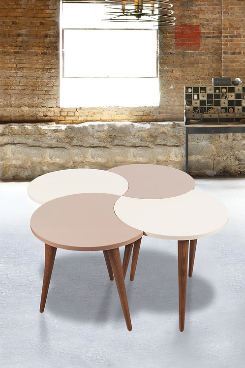 4 Pieces Nesting Table Cappuchino-Cream