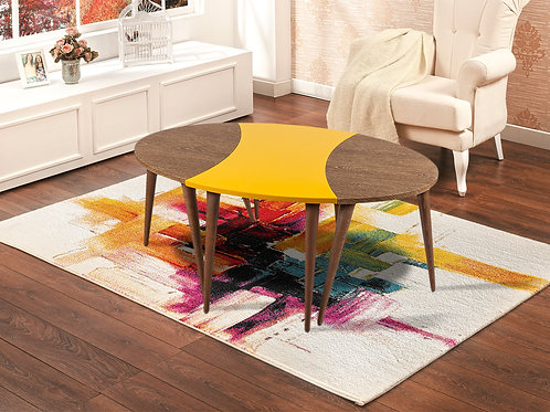 3 Pieces Oval Coffee Table Wooden-Yellow-Wooden