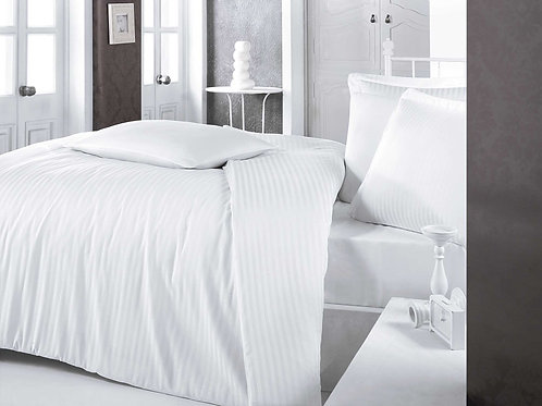 Clasy Cotton Duvet Sets - Striped White
