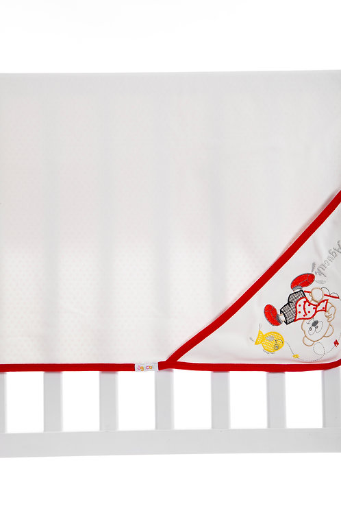 Agucuk  Embroidered Blanket 1168-Cream Red