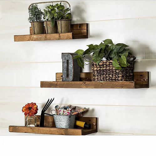Dekorjinal Solid Wooden 3 Pieces Shelf Set
