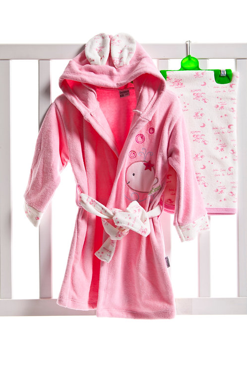 Bebessi Whale Bathrobe Set 1005-Pink