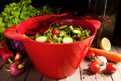 Herevin Salad Bowl With Spoon - Red