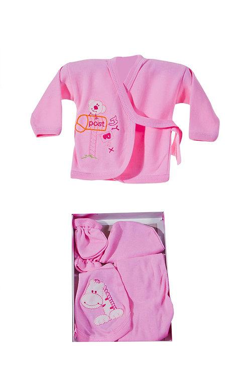 Burtaç Baby 5 Pcs. Newborn Baby Set 1103-Pink