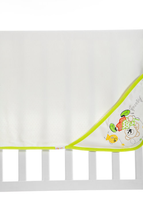 Agucuk  Embroidered Blanket 1168-Cream Green