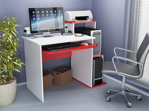 Sılver Working Table Whıte-Red